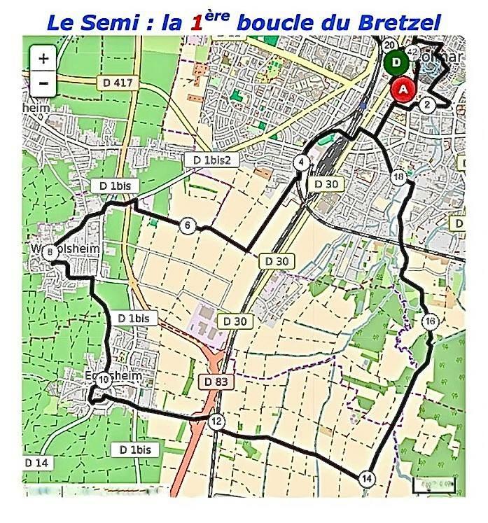 Parcours du semi-marathon de Colmar